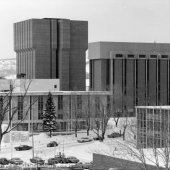 Four buildings on campus in the 1970s during the winter.