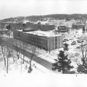 Aerial view of Fisher Hall in the winter.