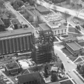 Aerial view of the Mechanical Engineering-Engineering Mechanics building under construction.