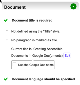 Grackle Docs Document heading options. Two main features are Document title, and Document language.