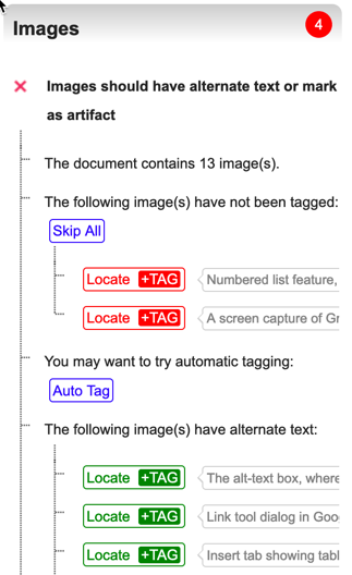 Grackle Docs Images Heading showing the checks for alternative text for images, equations, and drawings. The sub-categories include locations of each image instance and a preview of their alternative text.