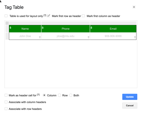 Grackle Docs Tag Tables tool dialog box, allowing users to select rows, columns, and cells as headers within a table layout.