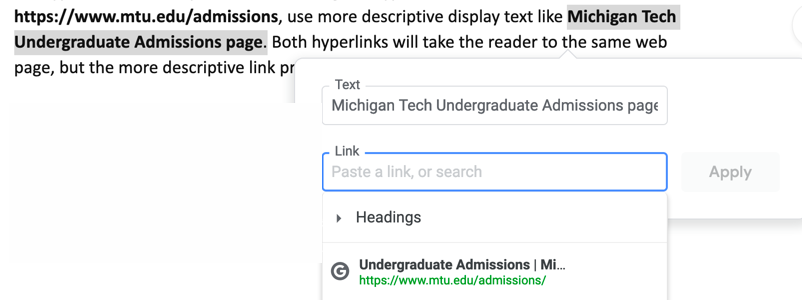 Link tool dialog in Google Docs, where users can enter the descriptive text for a hyperlink.