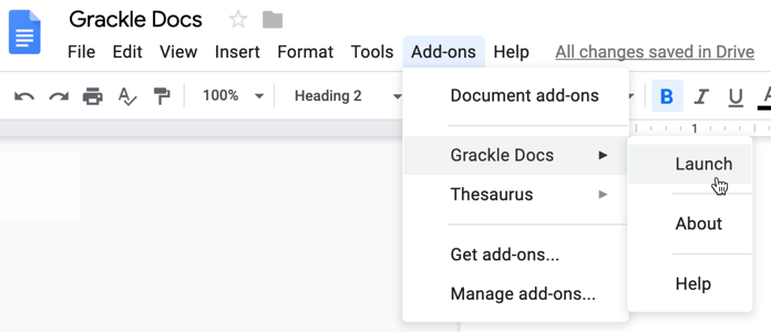 Google Doc's Add-ons menu in the main ribbon bar showing how to launch the Grackle Docs accessibility checker.