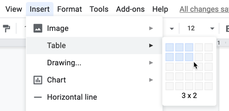 Insert tab showing table configuration tool placing a custom tables in Google Docs.