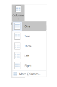 columns tool in layout tab