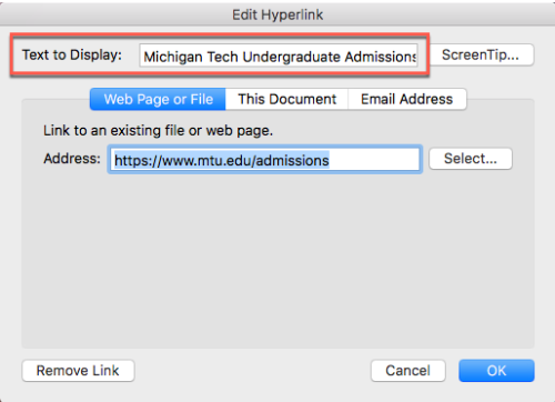 edit hyperlink text dialog box