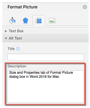 Layout and Properties tab of Format Picture dialog box in Word 2016 for Mac