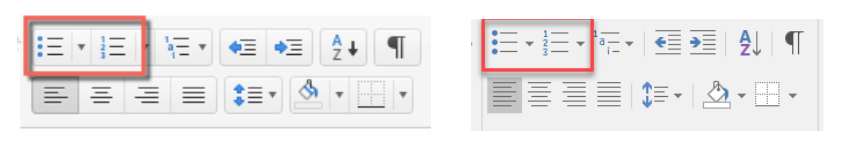 list function buttons in Word in Mac and Windows