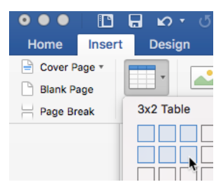 table icon in Insert tab in Word