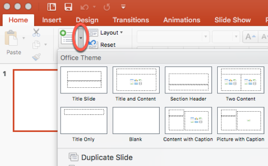Select a slide layout from the dropdown menu