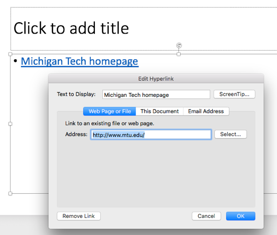 web address field in the edit hyperlink window