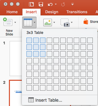Option for creating table in Insert Tab