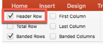 Header Row checkbox in Table Design Tab