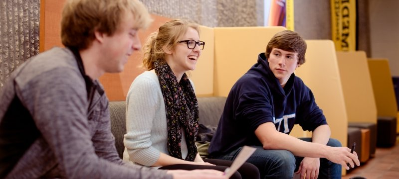 Students meeting in a lounge area.