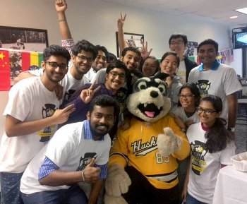 International students with our mascot Blizzard