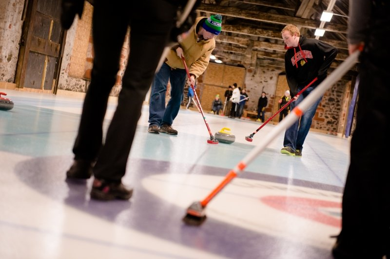 Students curling.