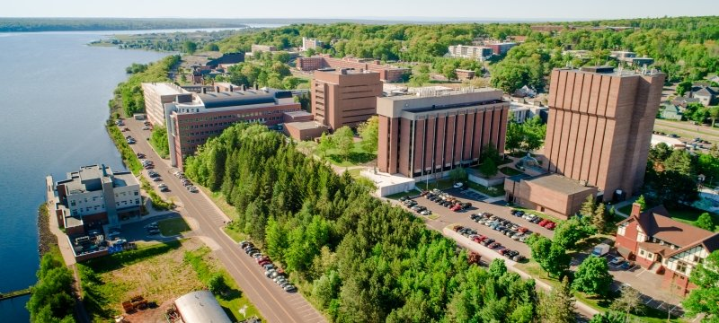 A waterfront view of Michigan Tech's campus