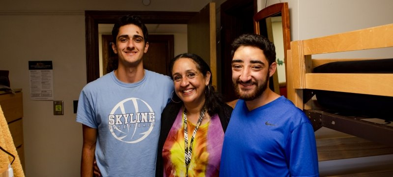 A family poses during Move-in