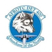 Michigan Tech AFROTC logo Detachment 400 Guardians of the North wolf head and jet