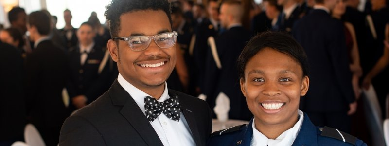 Female Cadet with her date at the 2019 Joint Military Ball in Houghton at the Bonfire Grill Banquet Hall.