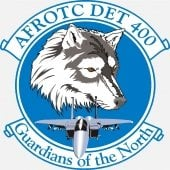 AFROTC Detachment 400 logo seal with wolf head and jet inside upper banner AFROTC DET 400 and lower banner Guardians of the North