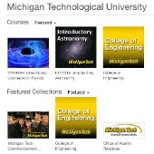 Michigan Tech iTunes U featured collections, including Introductory Astronomy, College of Engineering, and Michigan Tech Commencement