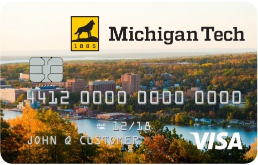 A replica of the Michigan Tech Visa credit card.