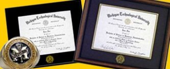 Custom Michigan Tech diploma frames