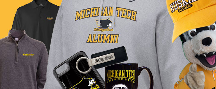 Michigan Tech merchandise: sweatshirts, mugs, and hats.