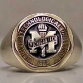 Silver and black class ring