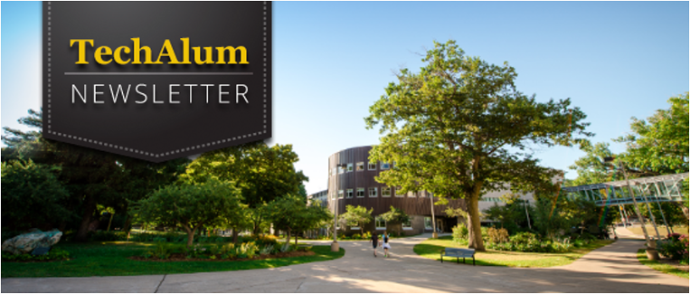 "The Michigan Tech campus on a sunny day. Superimposed on the image are the words ""TechAlum Newsletter."""