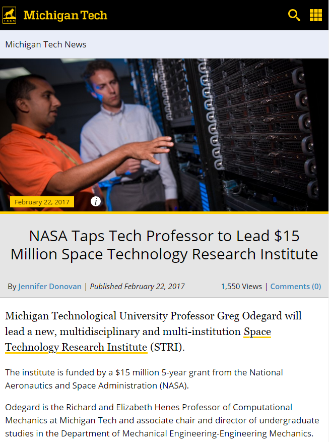 A screenshot of a Michigan Tech news story about NASA funding.