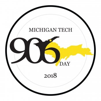 "Logo with the words ""Michigan Tech 906 day"" written over a drawing of the upper peninsula"