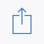 Blue iOS share icon