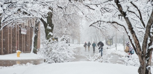 campus on a snowy day