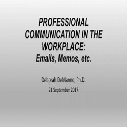 Professional Communications in the Workplace - Deborah DeManno