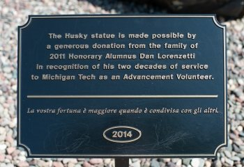 Husky statue donor sign