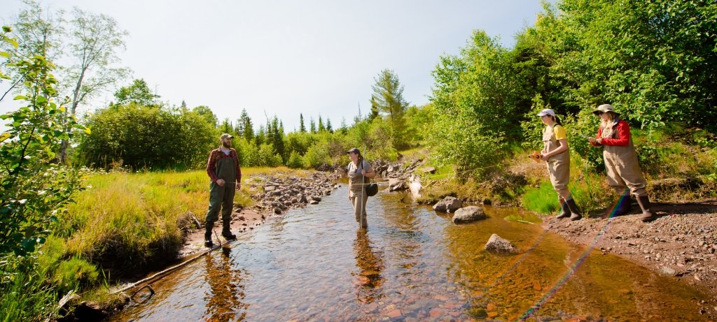 Researchers taking samples in a riverbed