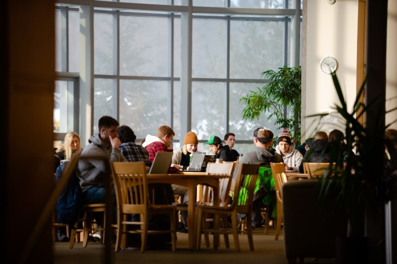 Students in the East Reading Room studying.