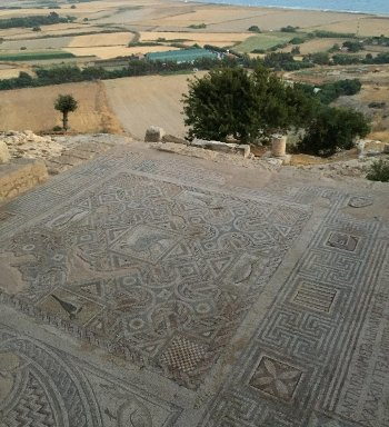 During their studies, students may tour the many millennia-old historical sites scattered around the island, such as this mosaic from an ancient mansion in Kourion.