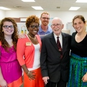 Members of Pavlis Honors College pose for a photo with Frank Pavlis, founder