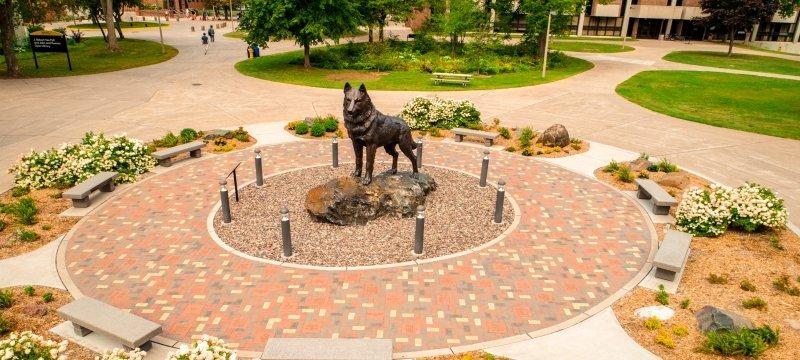 MTU husky statue
