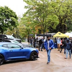 Image of automobiles on Michigan Tech Campus during Automotive Day 2017