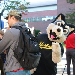 Michigan Tech mascot Blizzard at an Industry Day