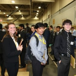 Three students at the Career Fair