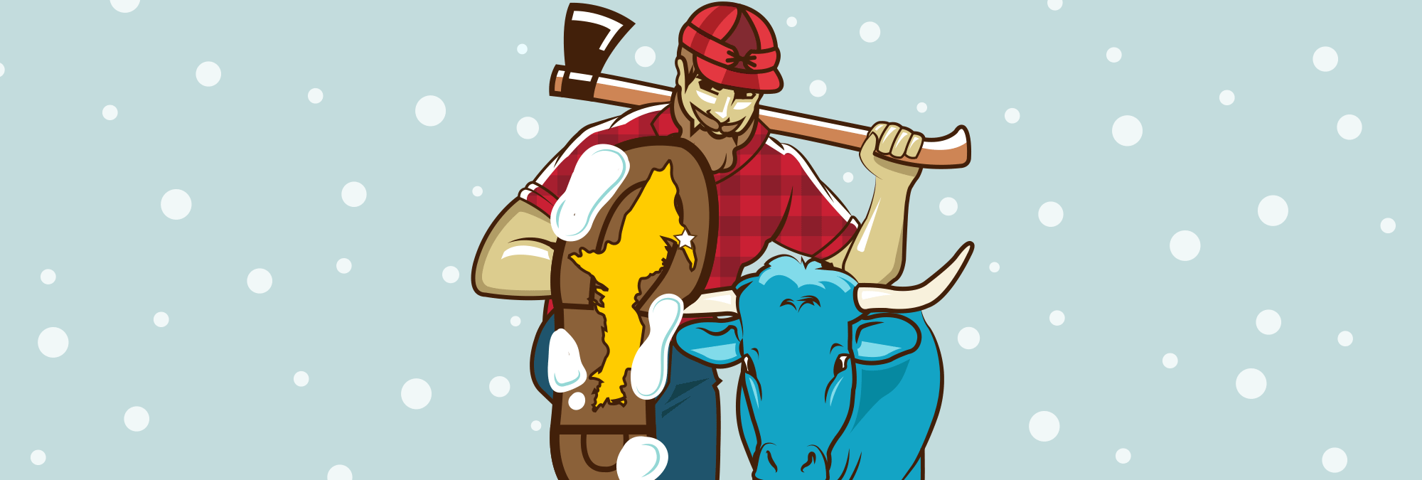 Illustration of Paul Bunyan and Babe the Blue Ox