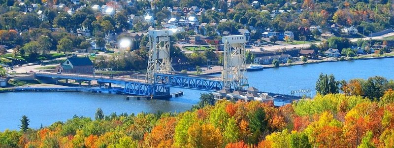 Portage Lift Bridge on the Canal in Autumn