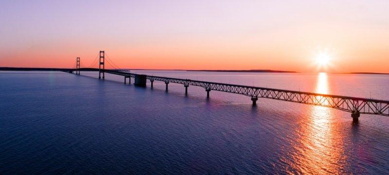 Mackinaw Bridge at sunset