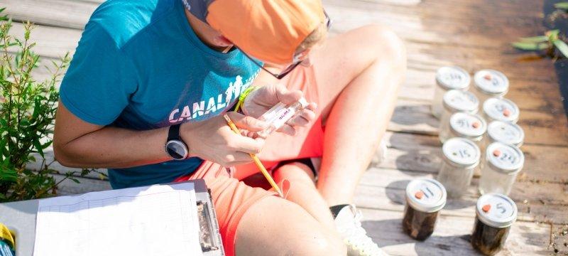 Grad student taking samples at Nara Park.